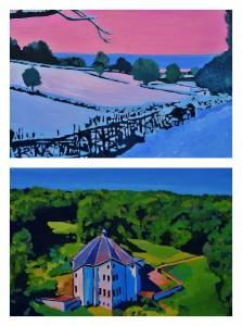 Schilderijen van Doro Krol. Boven: Palland. Onder: Huize Wylerberg
